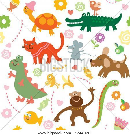 Seamless vector elements of children's drawings
