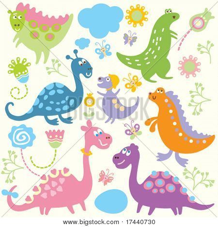 dinosaurs-vector elements of children's drawings