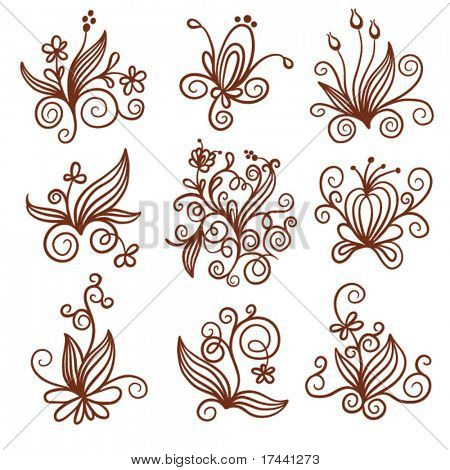 set of elements floral design