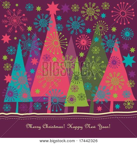 colorful christmas vector card