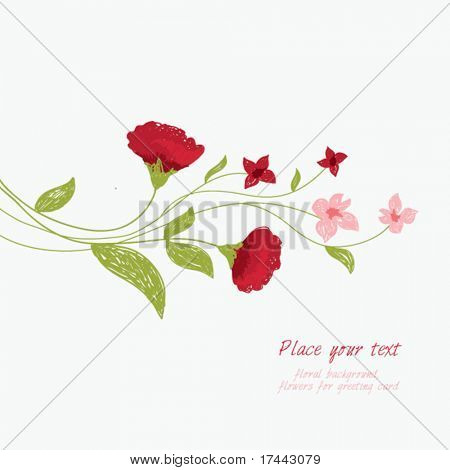 greeting card, floral background