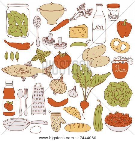 Set of food, vector illustration