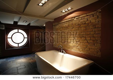interior of a modern bathroom with ambient light
