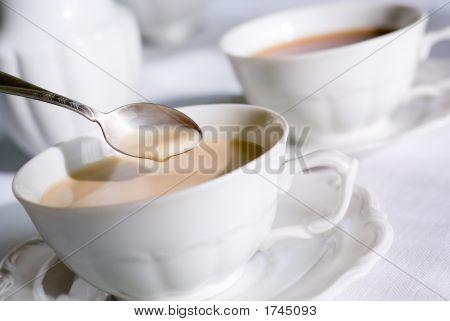 Teaspoon Over Cup Of Tea Or Coffee