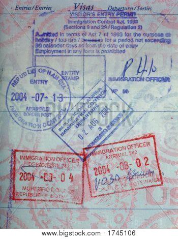 Us Passport With African Passport Stamps Botswana Namibia