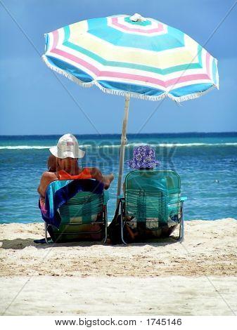Elderly Beach Couple