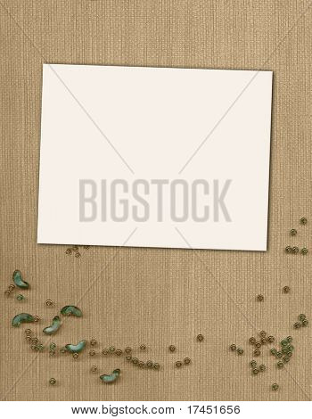 Horizontal page for photo or invitation on the textile background