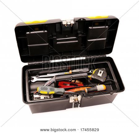 Toolbox with used tools isolated on white