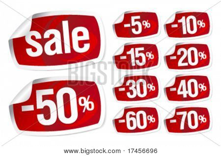 Set of red stickers for discount sale