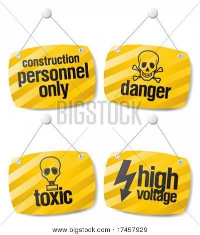 Set of alert danger vector signs