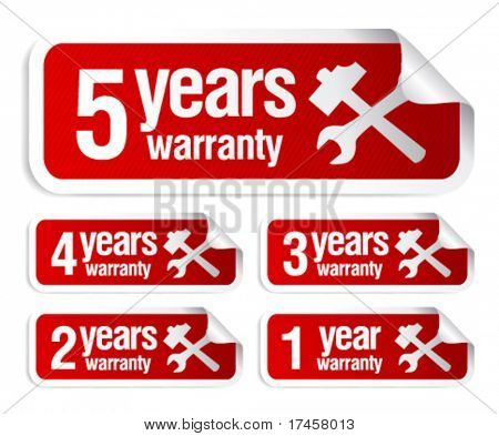 red vector warranty stickers set
