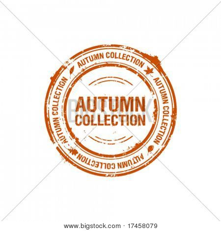 vector autumn collection stamp