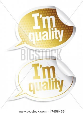 Stickers for quality products with imitation of the hologram  in form of speech bubbles.