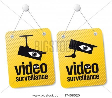 Video surveillance signs set.