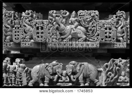 Ancient Sculpture With Elephant In Black & White