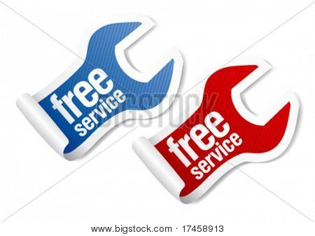 free service guarantee stickers in form of wrench