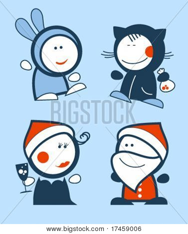 Set of new years funny people icons.