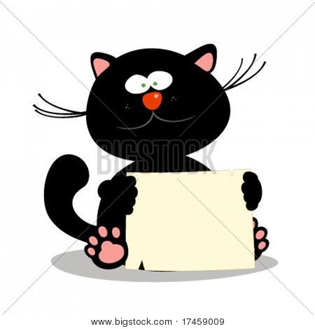 Cute little kitten with empty blank, vector illustration.