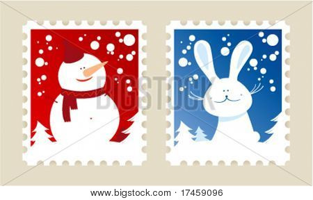 Christmas postage stamps set.