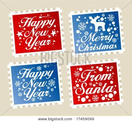 New Year postage stamps set.