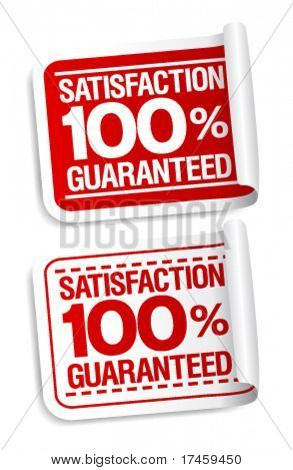 100% satisfaction guaranteed stickers set.