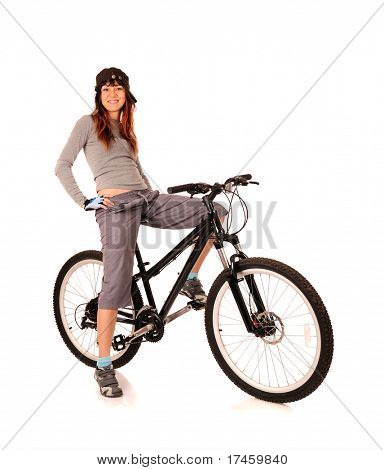 bicyclist woman isolated on white