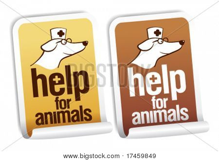 Help for animals, first aid stickers set.