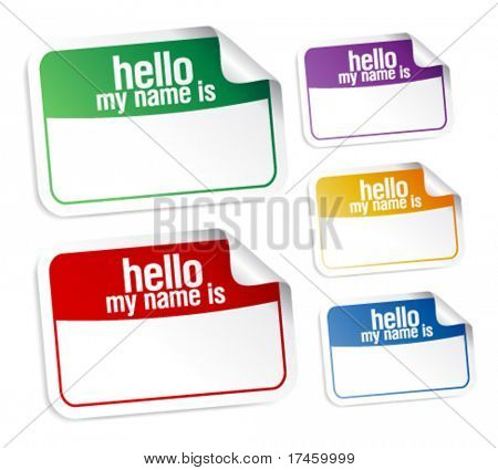Color name tag blank stickers set, hello my name is.
