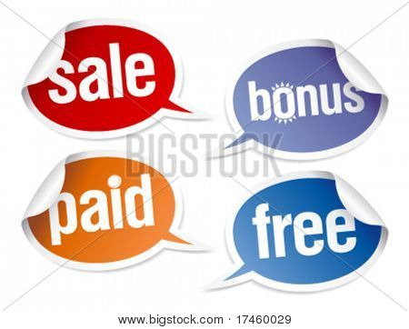 Set of stickers for best sales in form of speech bubbles.