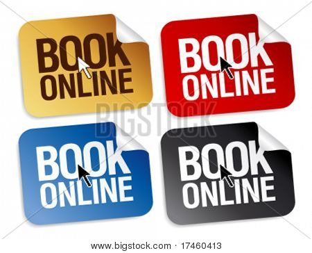 Book online stickers set.