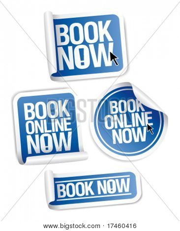 Book online now stickers set.