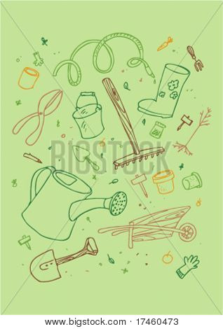 illustraition of cartoon garden tool, hand drawn design set.