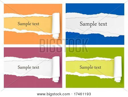 Four ripped colored paper backgrounds. Vector illustration