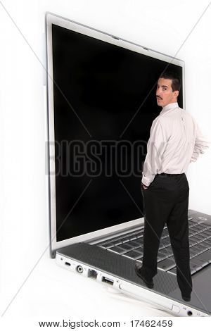 Man walking on Laptop