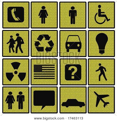 Symbols of Modern Life on Yellow Textured Squares