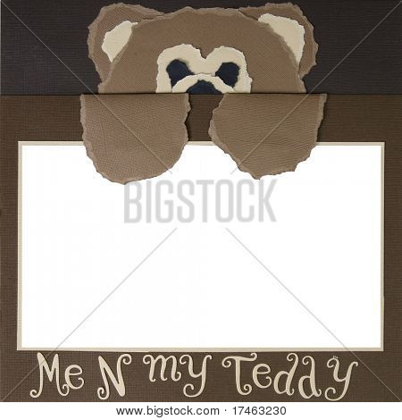 Me N My Teddy Square Frame Scrapbook Template-Insert your Photos!