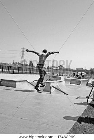 Youth Skateboarding in Skate Park
