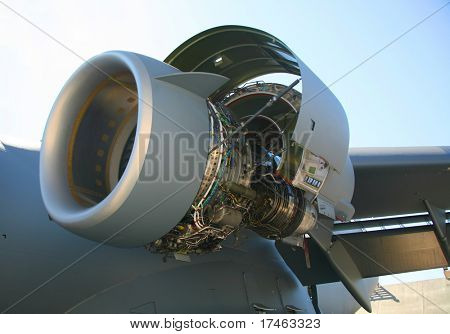 Opened C-17 Military Aircraft Engine