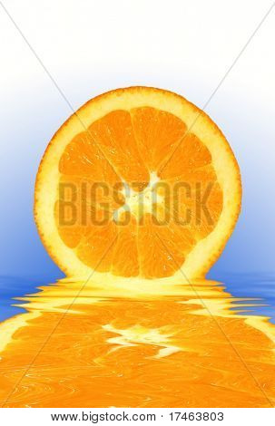 Orange Fruit With Liquid Reflection