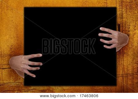 Grunge Background Frame With Hands Holding Blank Copy Space. Perfect For Halloween.