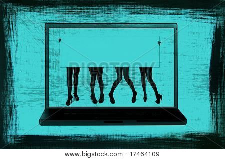 Girl's Legs Holding Blank Sign on Computer Screen: Grunge Style