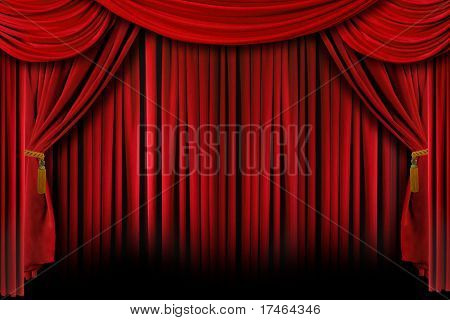 Multiple Red Layered Stage Theater Drape Curtain Background