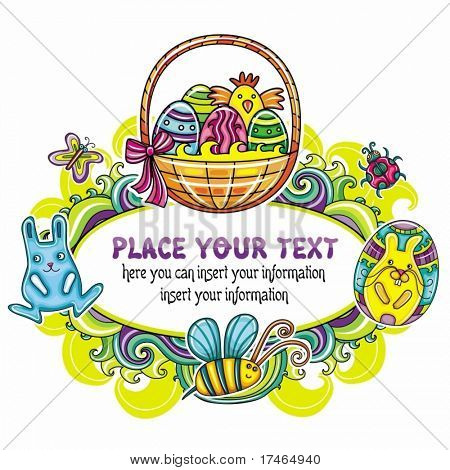 Holiday Easter Frame with white space for your text 4: Traditional basket with colorful painted easter eggs, cute bumblebee, funny, bunny. Floral elements like flowers and plants