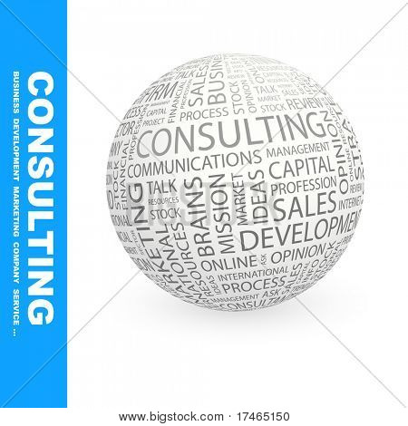 CONSULTING. Globe with different association terms. Wordcloud vector illustration.