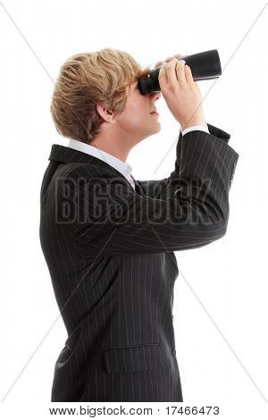 Business Vision concept - young man with binoculars isolated on white