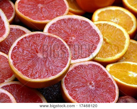 Half orange and grapefruit backroung