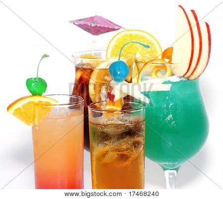 Cocktails - Tequila Sunrise, Sex On The Beach, Blue Hawaii, Long Island Iced Tea. Isolated on White Background