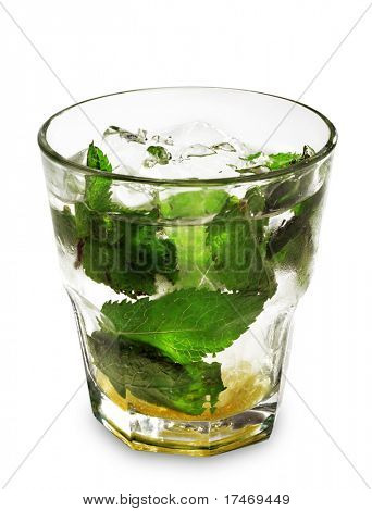 Alcoholic Cocktail made of Vermouth with Mint and Cane Sugar. Isolated on White Background