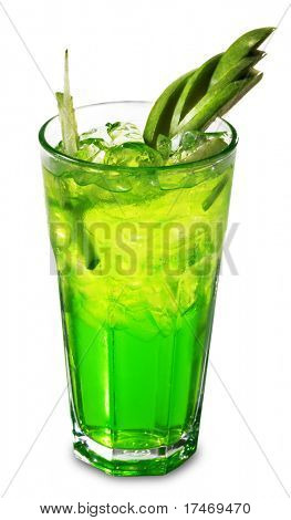 Green Alcoholic Cocktail made of Vodka and Liqueur with Apple and Strawberry. Isolated on White Background