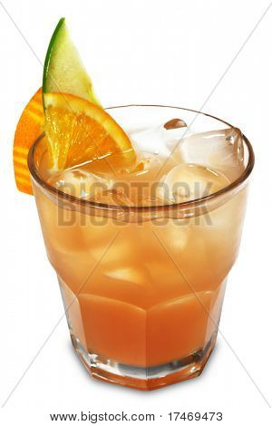 Alcoholic Cocktail made of Vodka, Liqueur and Grapefruit Juice Served with Slice Apple and Orange. Isolated on White Background